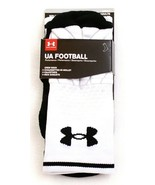 Under Armour White & Black UA Football Cushioned Crew Socks Men's M 4-8.5 - $29.69