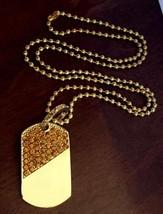 "Hip Hop 14K Gold GP Iced Lemonade CZ Dog Tag Pendant Necklace w/ 36"" Cha... - $4.99"