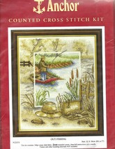 "SALE-FRESSHIPPING!!! ""OUT FISHING"" - ANCHOR COUNTED XSTITCH KIT - $19.79"