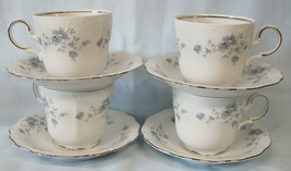 Johann Haviland Bavaria Blue Garland Platinum Tall Cup & Saucer Set of 4 - $36.52