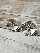 Vintage Clip On Earrings Silver Tone Large Statement Flower - $14.99