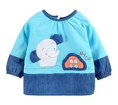 Cute Corduroy Waterproof Sleeved Bib Baby Feeding Bibs BLUE