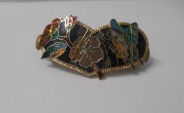 "Vintage/Upcycled~Enamel Cloisonne Butterflies/Flowers~2"" Spring Loaded B... - $15.00"