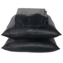 Solid Black Charmeuse Lingerie Satin Pillowcases King - $10.99