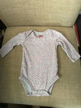 """""""Child Of Mine"""" Size 0-3M Long Sleeve Gray With Pink Hearts Bodysuit - $6.95"""