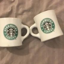 2 Vintage 1999 Starbucks Coffee Mug Cup Mermaid Logo White Green Collect... - $30.54