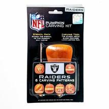 Oakland Raiders NFL Team Logo Pumpkin Carving Kit 6 Stencils 1 Saw 1 Scoop - $11.64