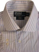 RALPH LAUREN POLO Shirt Mens 16 M Blue - White Stripes REGENT CUSTOM FIT - $20.79