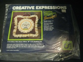 1984 Creative Expressions Bless This Home Pillow Quilting Kit Embroidery... - $14.84