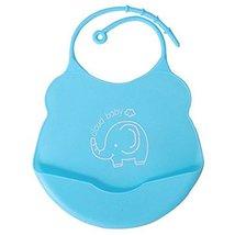 2 Pcs Mother Essential Blue Elephant Silica Waterproof Pocket Baby Bibs image 2