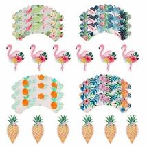 12 pcs Topper Pink Flamingo Party Decoration Pineapple Table Wrapper Bir... - $9.49