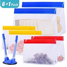 Reusable Storage Bags, Alitake Snack& Lunch Bags- Food Grade BPA Free Stand-Up B
