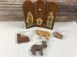 Dept 56 Wooden Nativity 5 Piece Time to Celebrate Hinged Wood Panels Chr... - $23.75