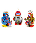 SET OF 3 TIN TOY ROBOT Walking Wind Up Metal SPACE AGE NEW Retro Little ... - $39.95