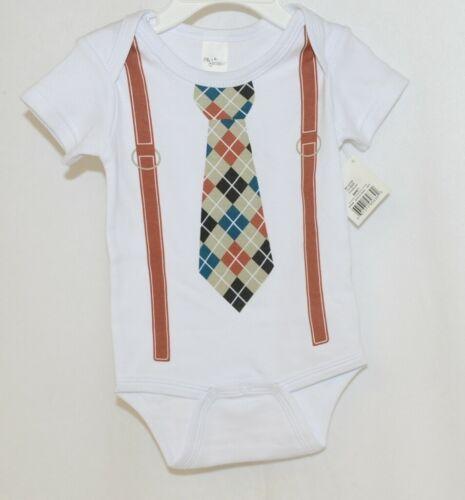 Ganz Ella Jackson Tie Suspenders Diaper Shirt Size 0 to 6 Months