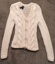 Womens Express Cream 100% Merino Wool Hand Knit Cardigan Sweater, Size XS  - $36.99