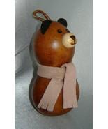 MEADOWBROOKE GOURDS Ornament - Folk Art Winter Bear w/ Pink Scarf - $9.70