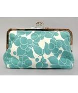 Ava Teal Floral Print Clutch Purse Handmade Handbag Blue Fabric Bag  - $70.00