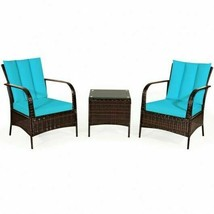 Modern 3pc Patio Rattan Furniture Set-Turquoise - $431.61