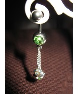 BELLY NAVEL RING GREEN PERIDOT CRYSTAL HEART #534 - $7.99