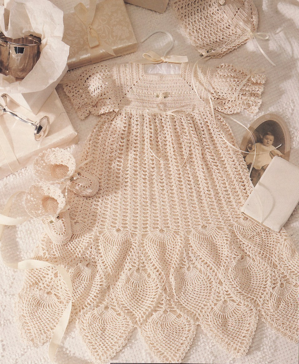 Christening Collection Baby Crochet Pattern Book Dress Gown Pineapples Lace -...