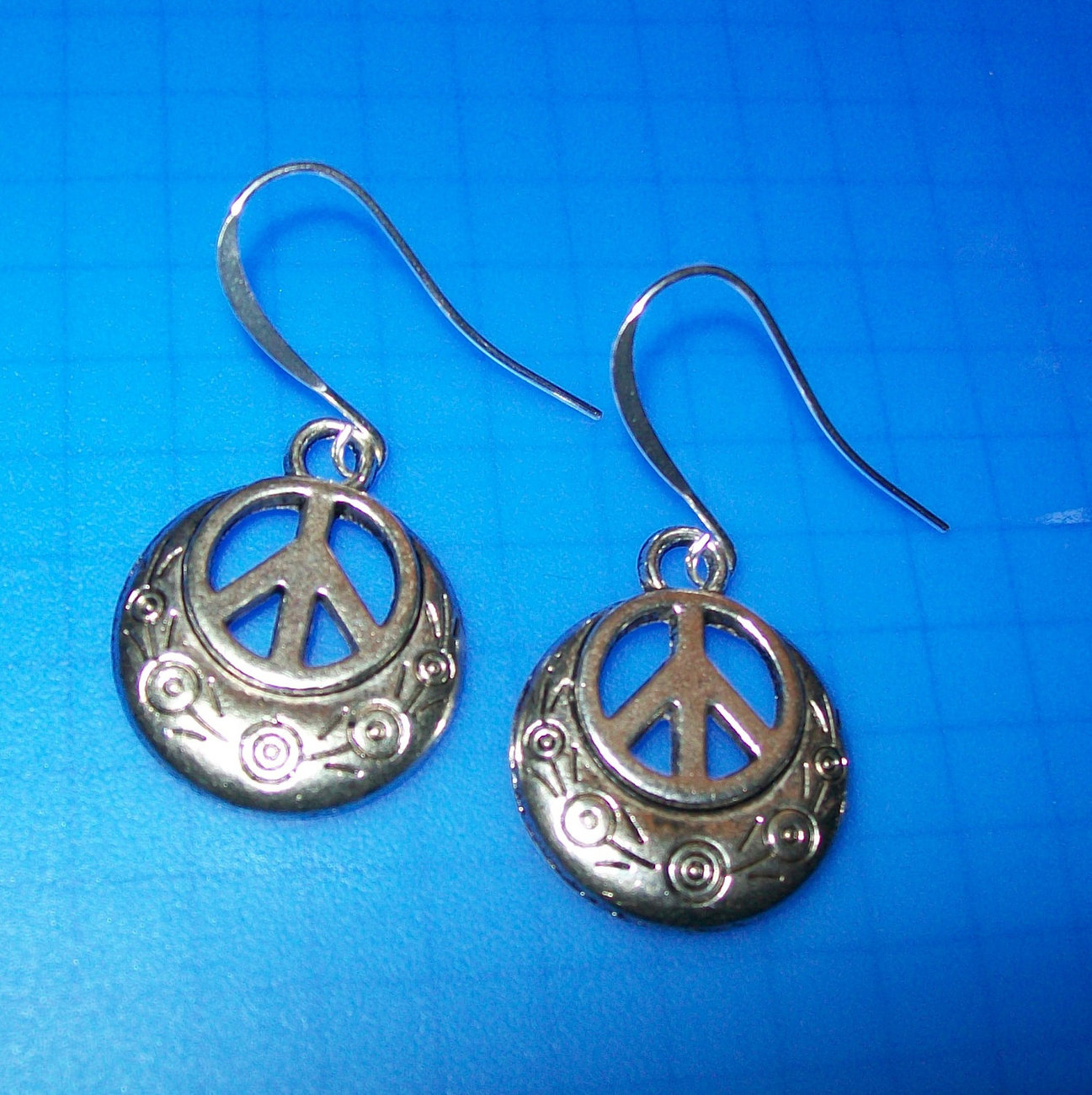 Tie Dye Peace Pride Symbol Necklace or Earrings