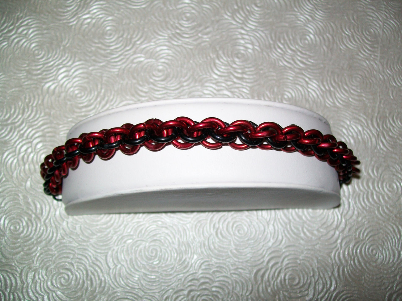 Red and Black JPL Chainmaille Bracelet
