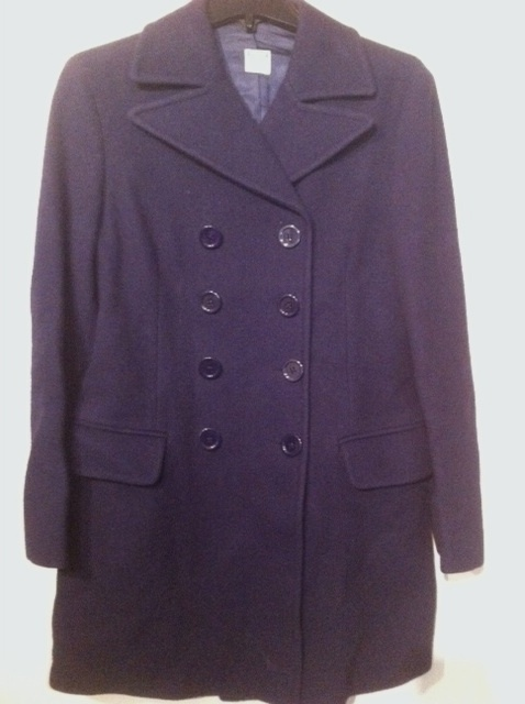 UNITED COLORS OF BENETTON navy blue WOOL double breasted COAT Made in Italy RARE