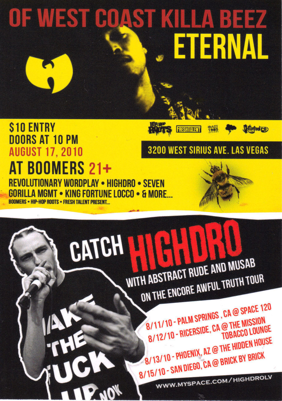 HIP HOP ROOTS @ BOOMERS in Las Vegs Ad