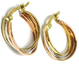 Earrings Circle White Gold, Pink, Yellow 750 18k, Twisted Squares, 1.5 Cm image 1