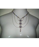 Byzantine Chainmaille and Blue Swarvoski Crystals Necklace - $80.00