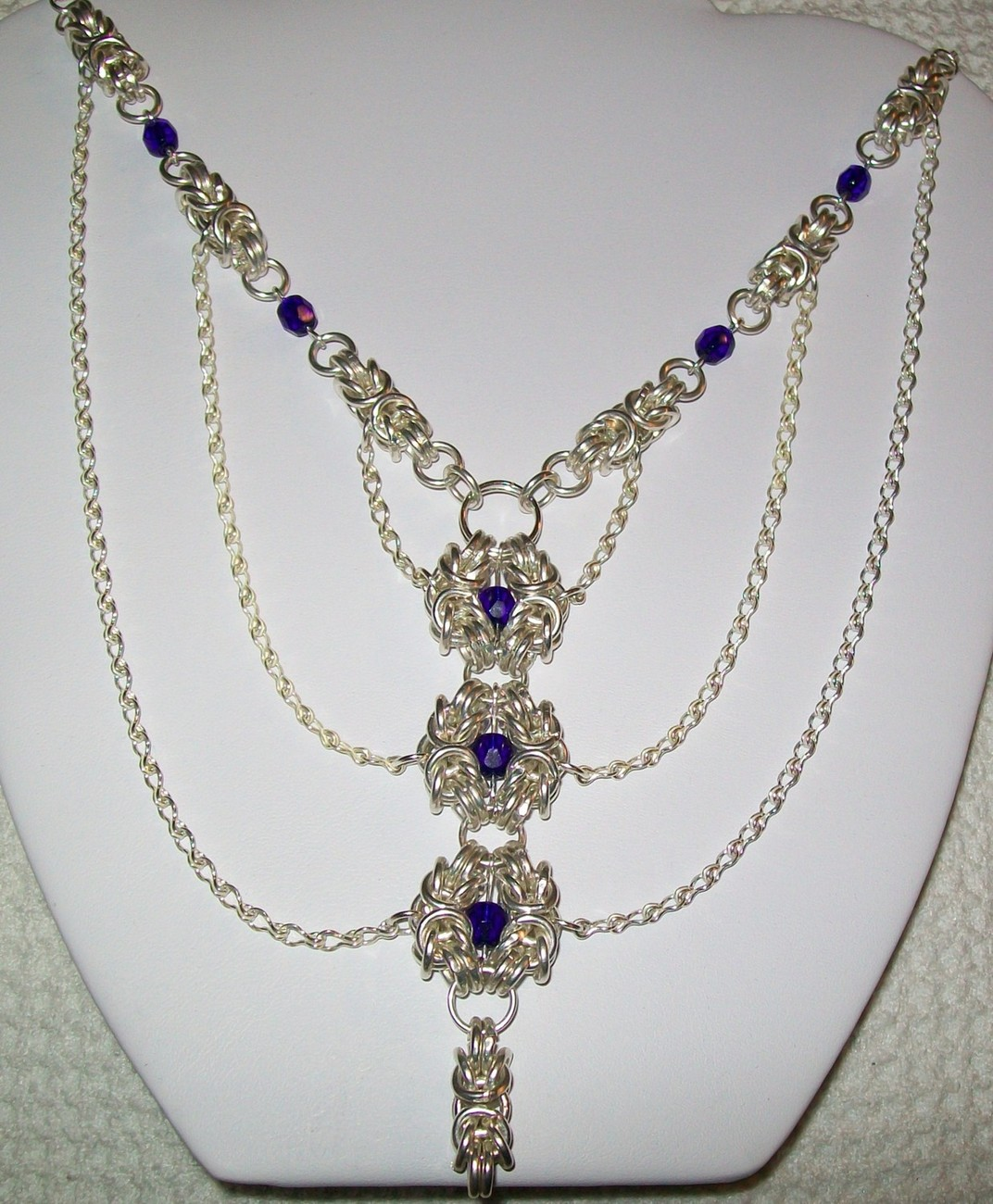 Byzantine Chainmaille and Blue Swarvoski Crystals Necklace