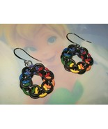 Black and Rainbow Chainmaille Earrings - $10.00