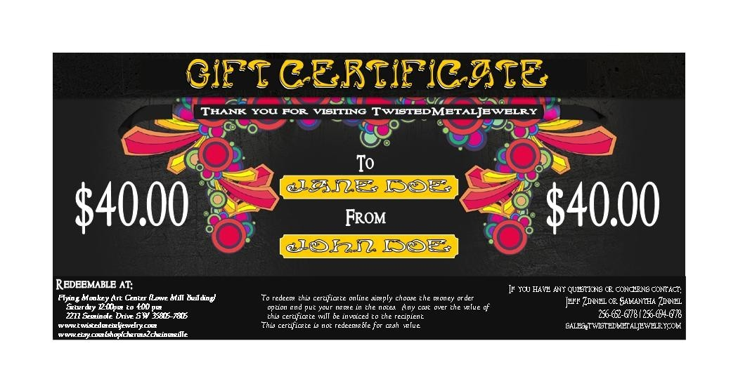 Forty Dollar Gift Certificate