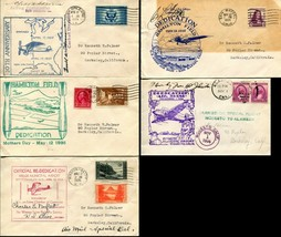 5 USA DEDICATION Cachet Cover Collection AirMail Special Delivery Postag... - $32.40
