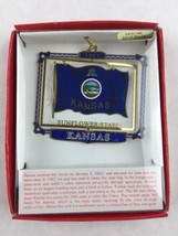 Nations Treasures Kansas Sunflower State Flag 1861 Brass Metal Souvenir Ornament - $15.00