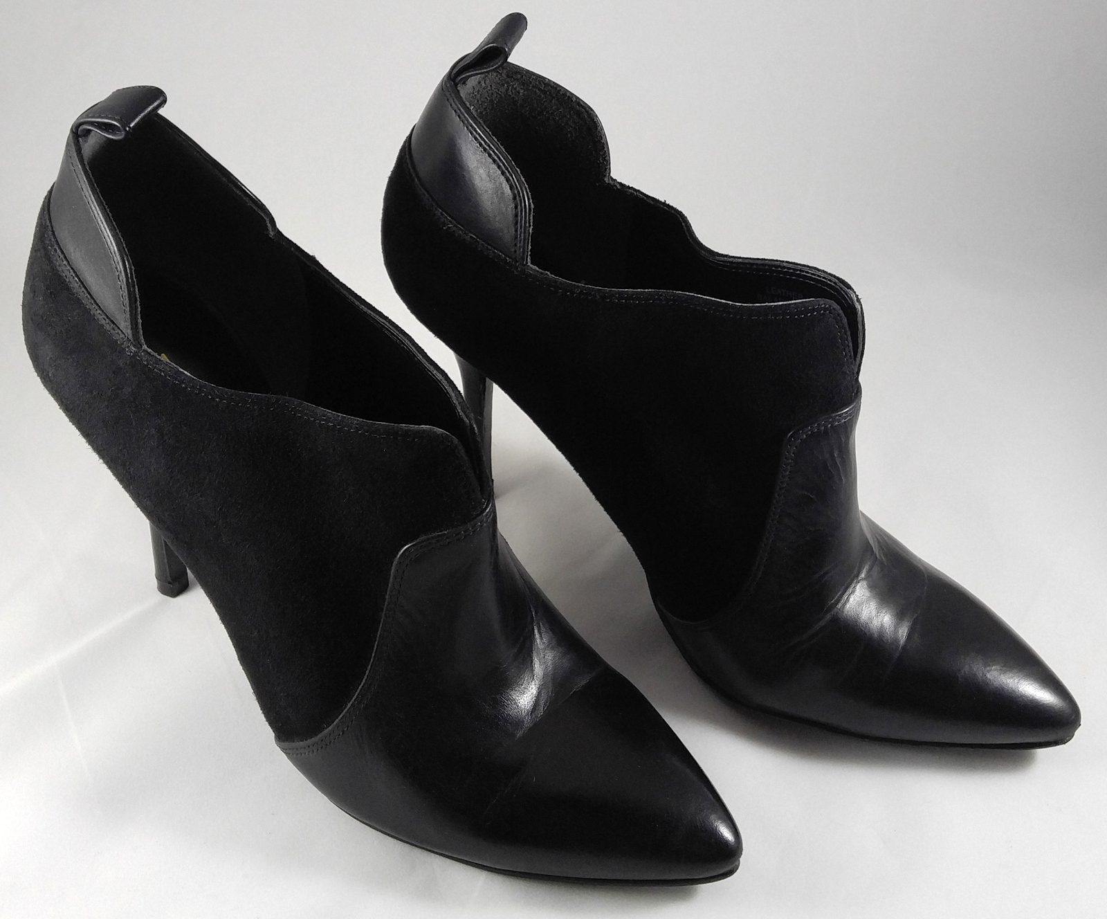 Enzo Angiolini Prixia Black Leather Suede Heels Shoes Ankle Boots Booties Size 8