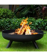 Heavy Duty Fire Pit Outdoor Wood Burning Fire Bowl 27.5in with A Drain H... - $275.00