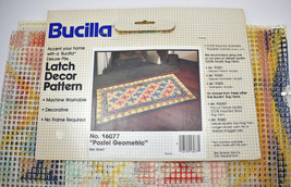 """Vtg New Old Stock Bucilla Latch Hook Rug Canvas Only - Pastel Geometric 30""""x60"""" - $37.95"""