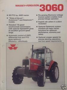 1989 Massey Ferguson 3060 Tractor Specifications Brochure