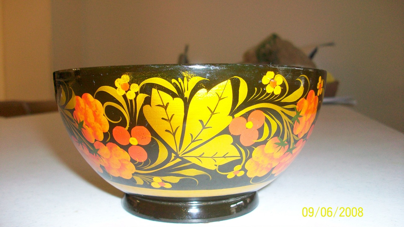 Vintage Russian Folkart Lacquer Small Bowl & Spoon