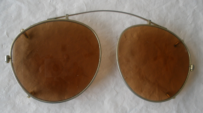 Clip On Shades - Brown Tint Lens - Gold Frame