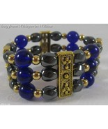 3 Strand Magnetic Hematite, Cobalt Glass and Gold  Bracelet - $16.95
