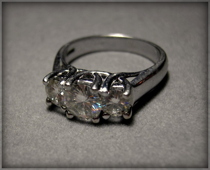 14k Moissanite Ring 3 Stone Ring 2 carat Charles & Colvard Other