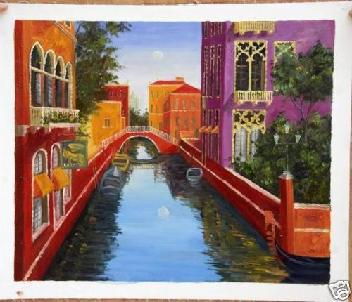 20 by 24 Inch Oil on Canvas Venice Signed