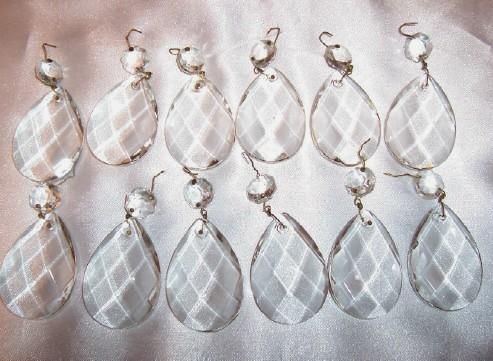 Antique Crystal Prisms 12 Large Diamond Design