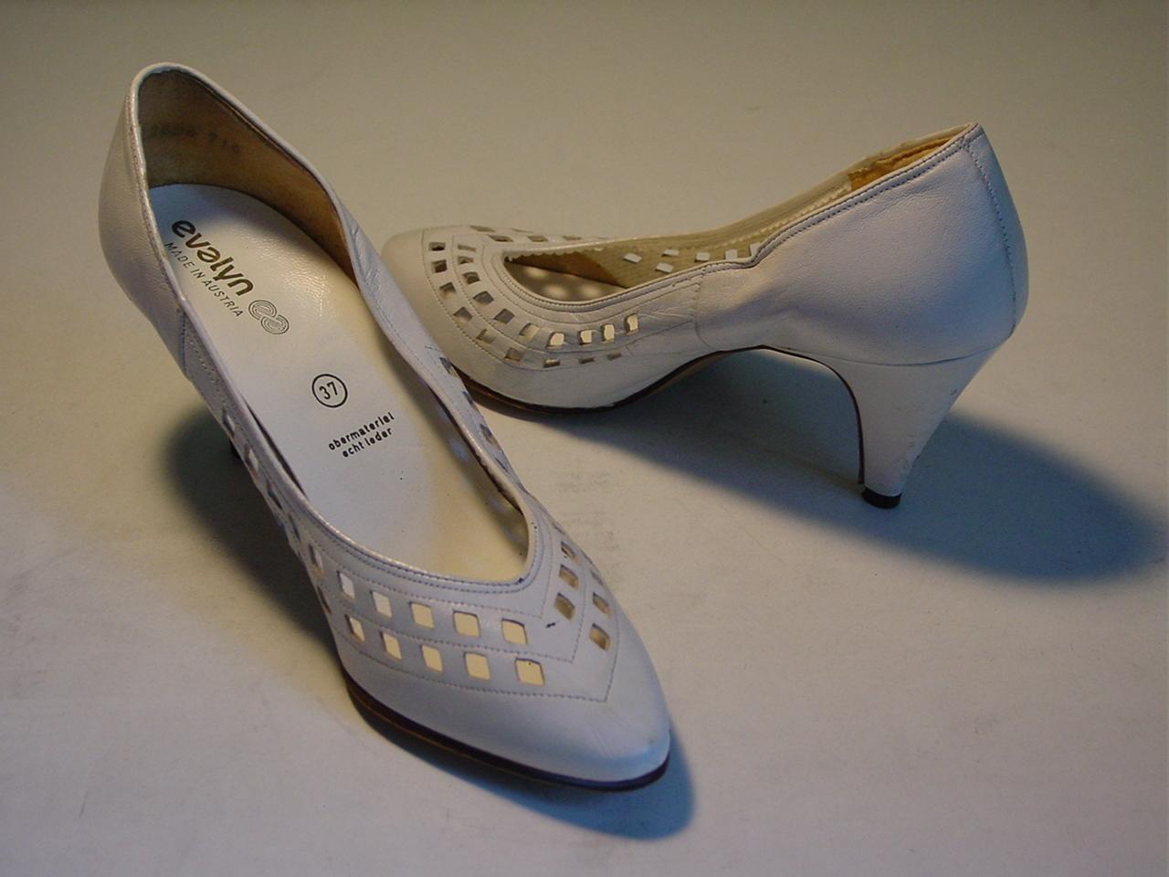 Vintage Designer White Bridal Leather Women Heel Shoes
