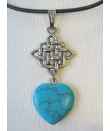 Celtic Knot and Turquoise Heart Antique Silvertone Necklace - $13.50