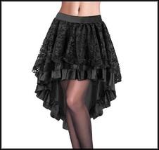 Renassaince Gothic Black Floral Lace Over High Low Hem Back Zips Kittle ... - $52.95