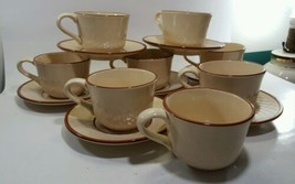 Franciscan Chestnut Weave Cup and Saucer Sets Lot of 15 pieces - $15.83